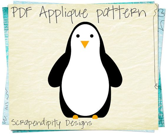 Penguin Applique Template - Zoo Applique Pattern \/ Penguin Fabric - penguin template