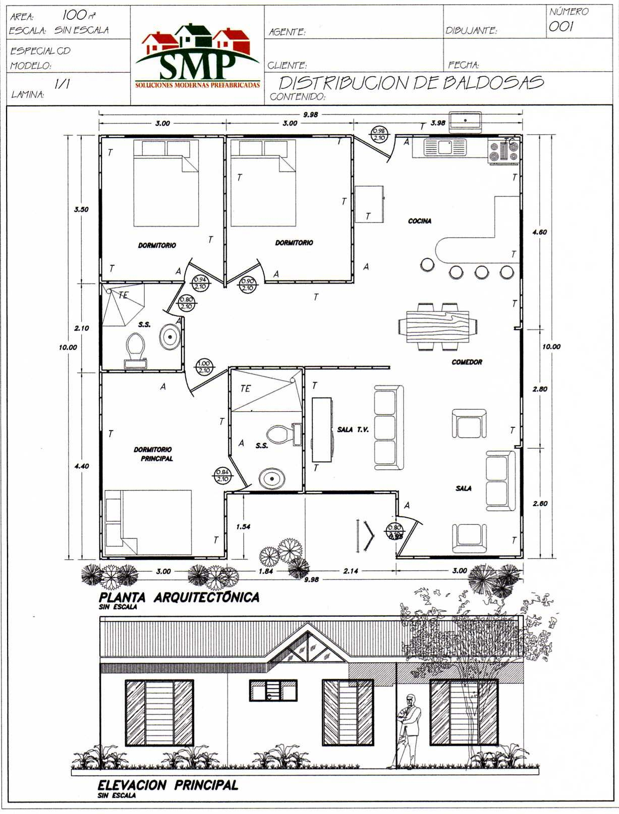 Plano casa100m2 tres dormitorios dos ba dream for Planos casas unifamiliares