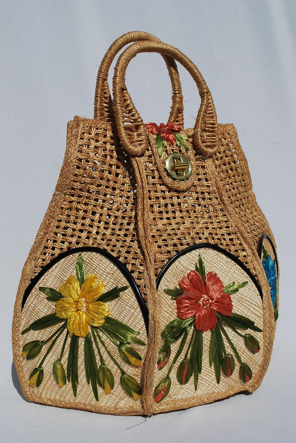 Michael kors tote bags philippines - Vintage 60 S Hand Waved Basket Purse Bucket Bag Raffia Floral Design Hand Made In Philippines By