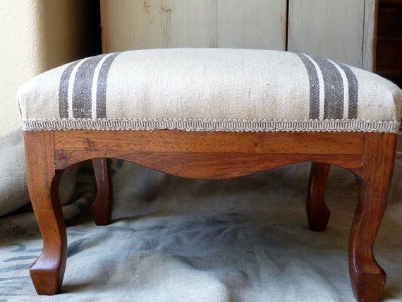 Vintage Foot Stool Wooden Grain Sack Feed Sack Top French Reupholstered Rustic Industrial Grain Sack Cushion Reupholster Footstool Reupholster Chair