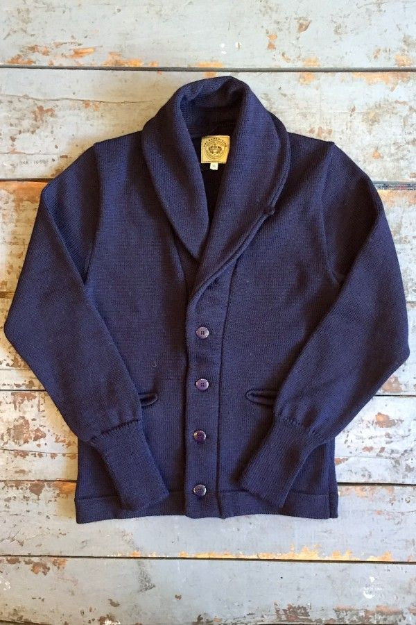 0c58acddb738 The Expedition Cardigan in Navy Wool from North Sea Clothing. 100% British  wool. Natural nut button shanks. Made in England.