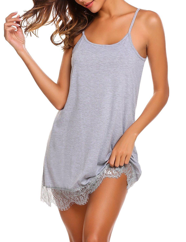 Sleepwear Womens Chemise Sexy Lingerie Full Slip Lace Babydoll Dress ... f30779ed4