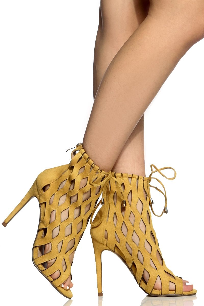 5b19406bae21 Yellow Faux Suede Cut Out Open Toe Heels   Cicihot Heel Shoes online store  sales Stiletto Heel Shoes