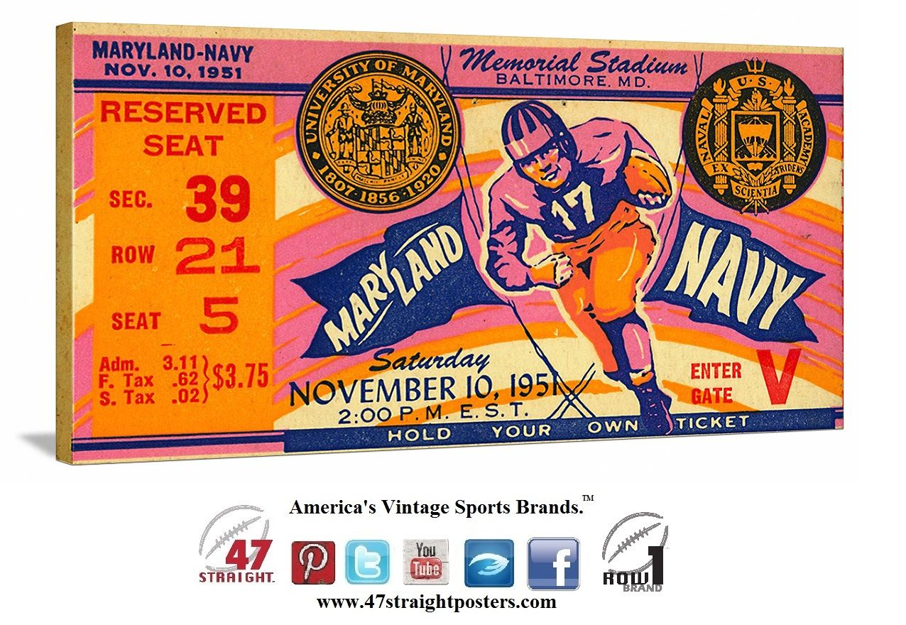 1951 #Maryland #Terrapins #football ticket art on canvas. Maryland went undefeated and won the 1951 National Title. #47straight #collegefootball #vintagefootball https://twitter.com/47_Straight Follow us on Twitter!