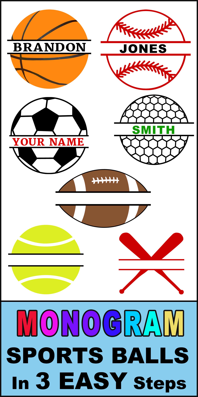 Monogram Sports Balls (FREE Personalized Clip Art) Clip
