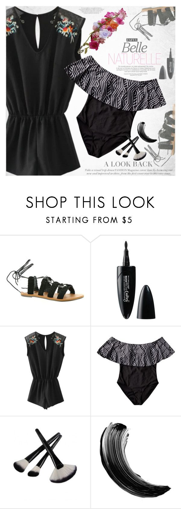 """""""Black on the beach"""" by vanjazivadinovic ❤ liked on Polyvore featuring Billabong, Maybelline, Accessorize, polyvoreeditorial and zaful"""