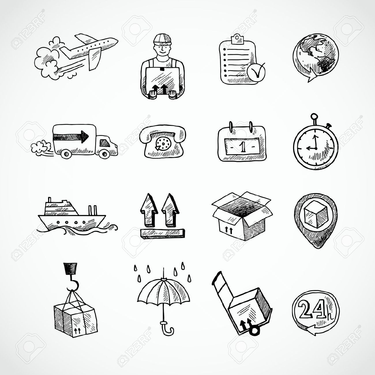 Supply Chain Cliparts Stock Vector And Royalty Free Supply Chain Illustrations Hand Drawn Icons How To Draw Hands Icon Set