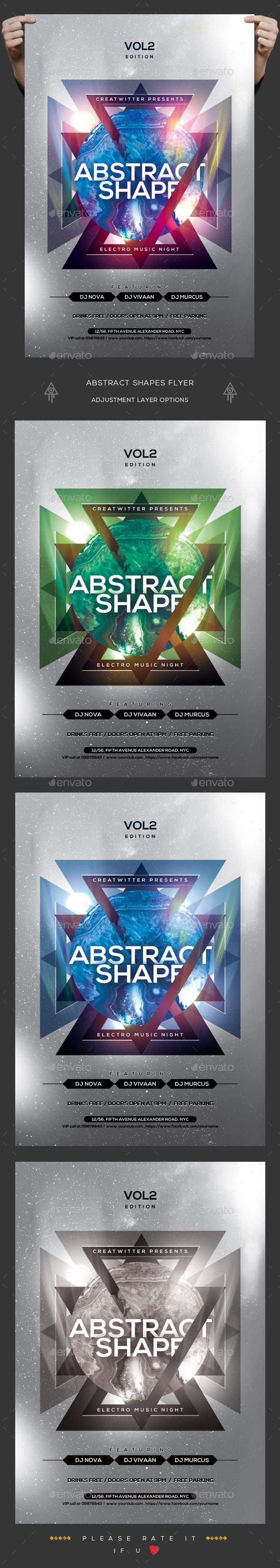 Abstract Shapes Flyer — PSD trance triangle