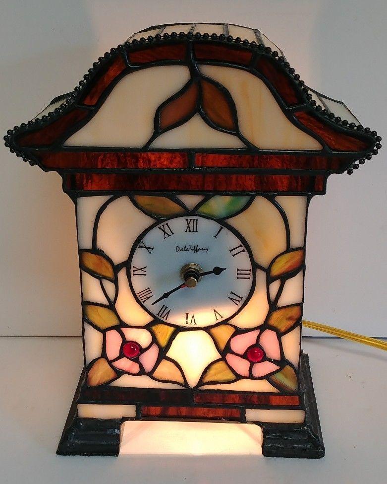 Vtg 10 3 8 Dale Tiffany Stained Gl Fl Light Up Mantle Clock Lamp Works Daletiffany