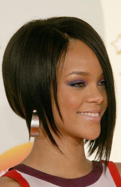 Rihanna Sterling Hoops Asymmetrical Hairstyles Womens Hairstyles Short Hair Styles