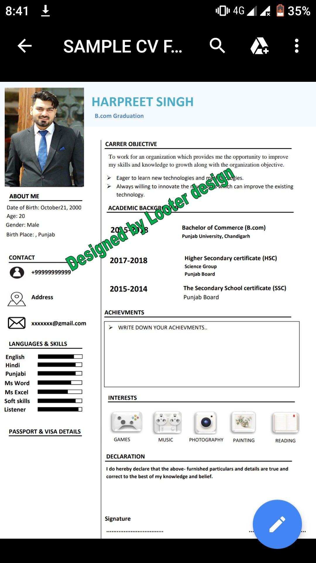 First Resume/Fresher CV