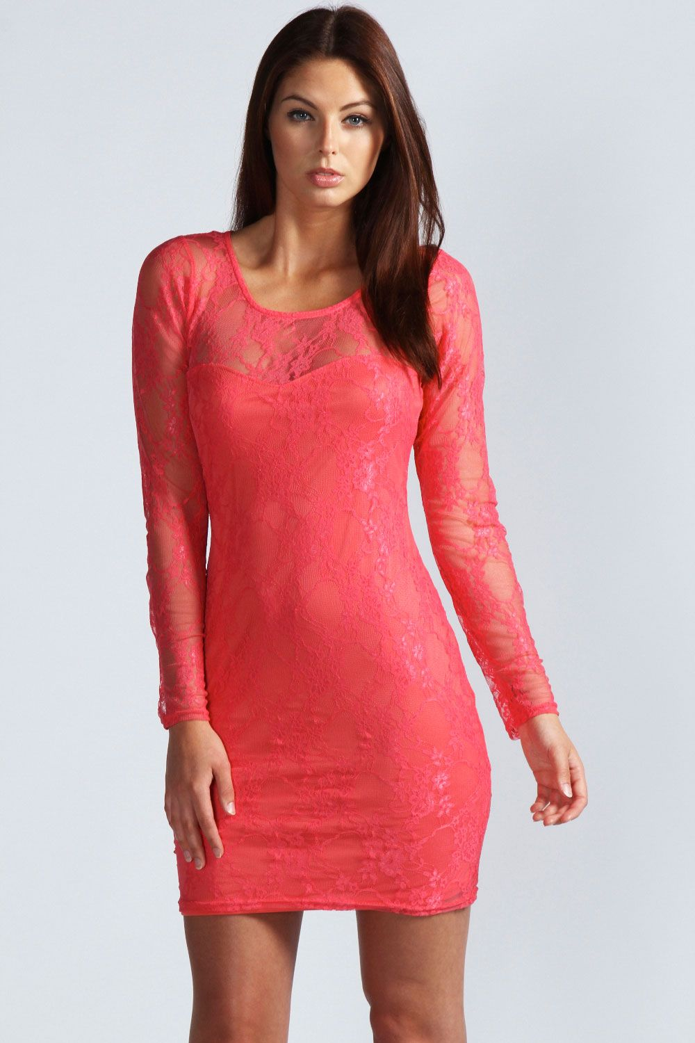 80e8c646dbbf Missguided Lace Long Sleeve Side Split Bodycon Dress Red in Red | Lyst