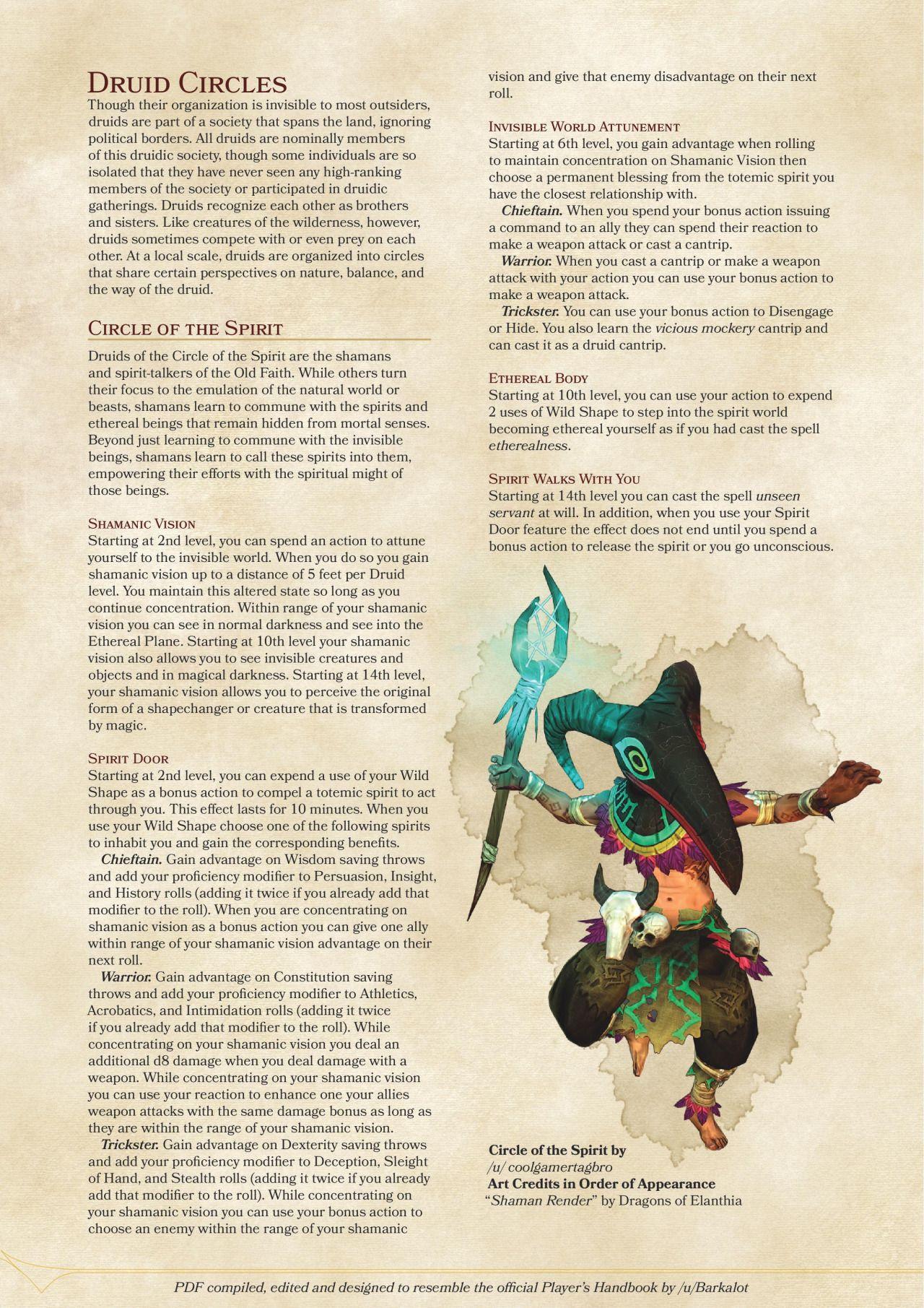 Exploring Character Design Pdf : Druid subclass https sterlingvermin files wordpress