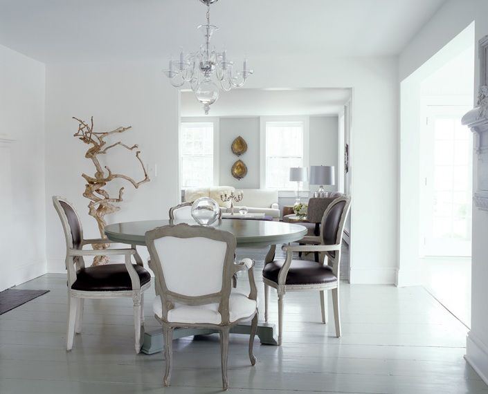 white dining room different chairs louis rustic driftwood sculpture glass chandelier | DelysiaStyle