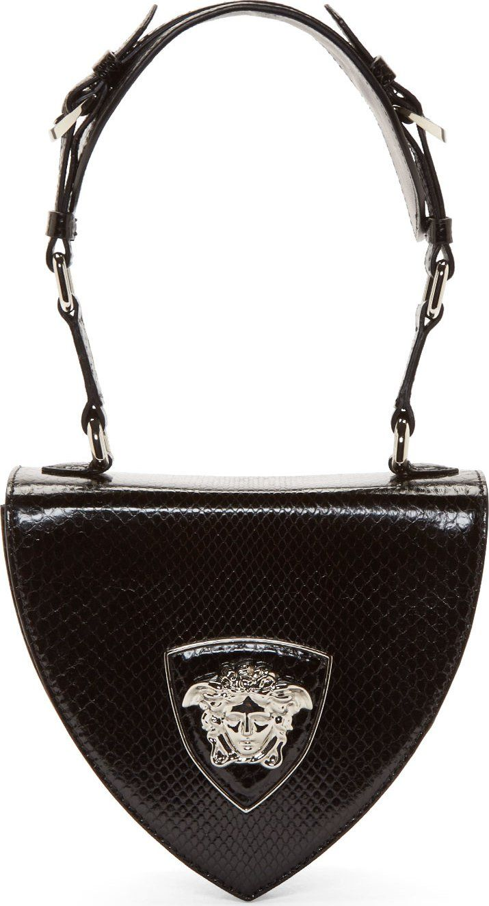 Python Bag Silver Leather Black Versace Medusa Shoulder gzq1nvH