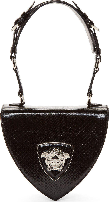 Python Shoulder Leather Black Medusa Versace Silver Bag zxpOR5q5