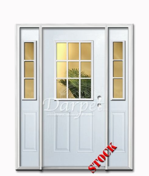 9 Lite Half Clear Glass Steel Exterior Door with Siedlites 6-8 ...