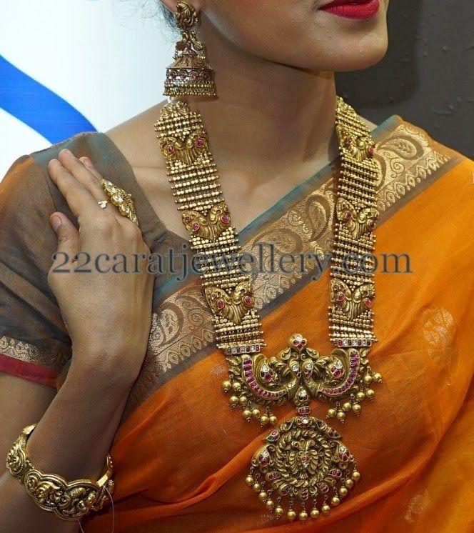 Jewellery Designs Peacock Antique Mala Antique Necklace