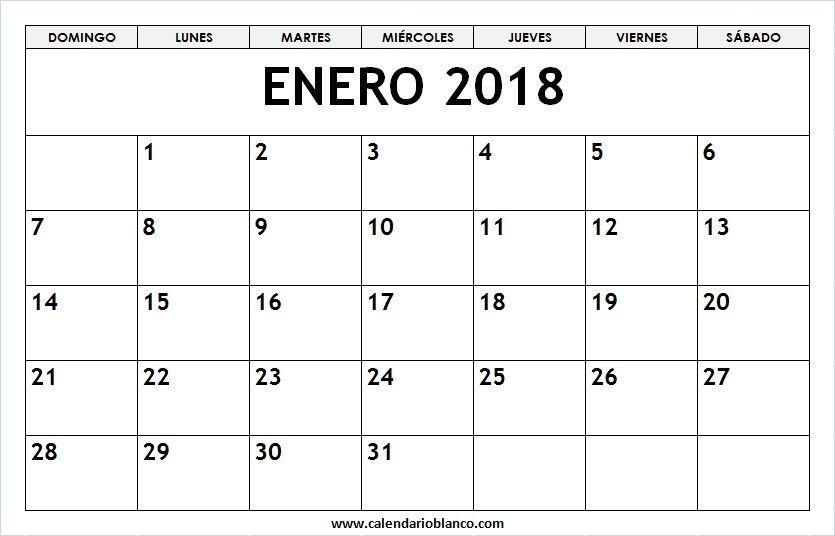 Enero 2018 Para Imprimir | 2018 | Pinterest | Descargar calendario ...