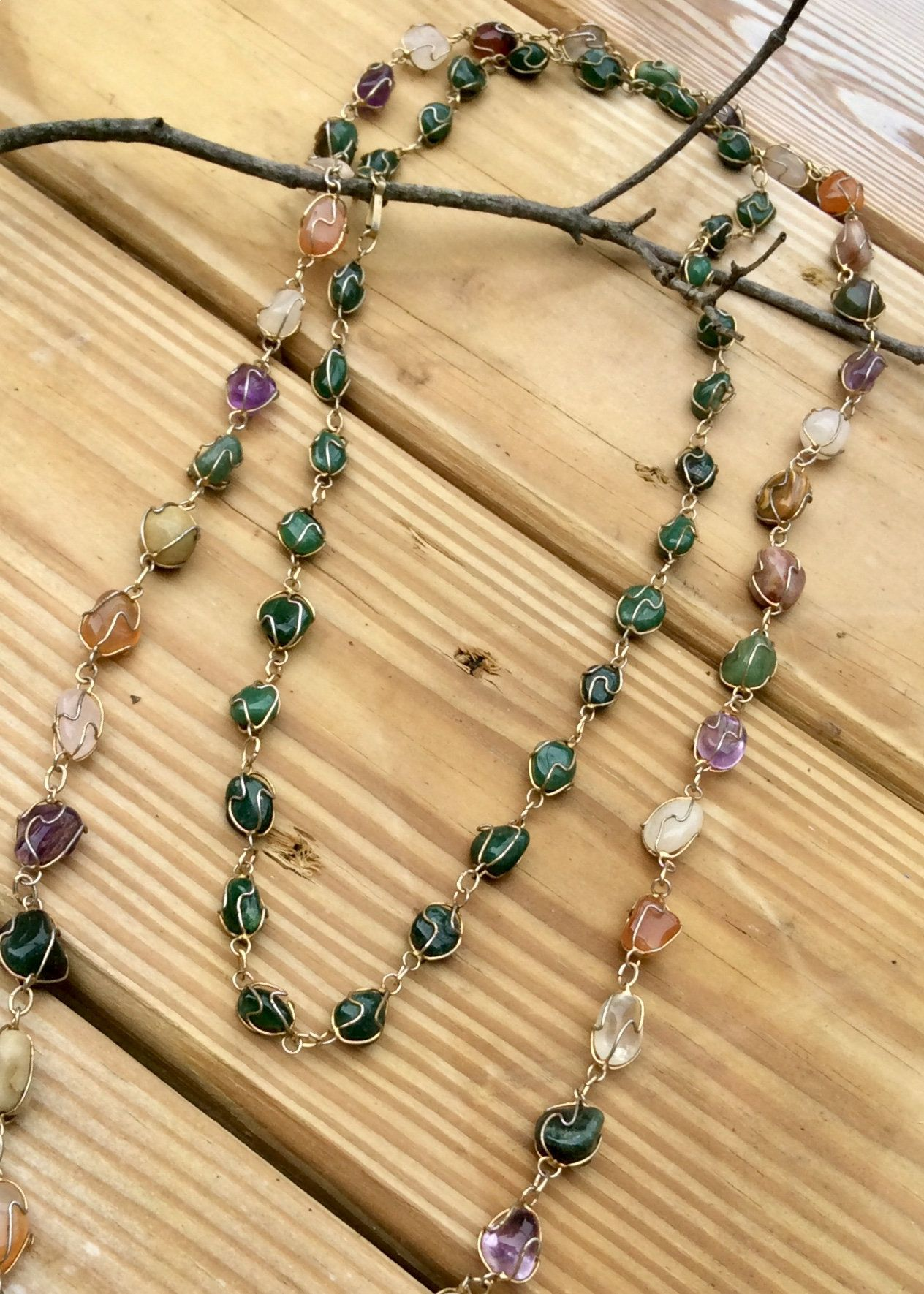 2 necklaces polished gemstones gold tone wire wrapped