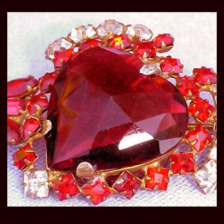 Massive 1940s Sterling & Vermeil Red Rhinestone Brooch Valentine's Day Heart & Arrow