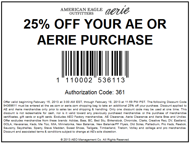 photograph regarding American Eagle Coupons Printable identify 25% off the tab at American Eagle Aerie, or on line as a result of