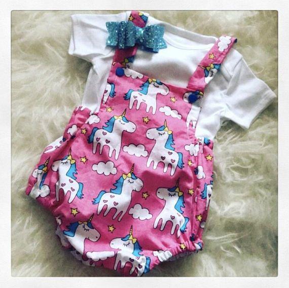 74c1a6e19f78 Baby girl unicorn romper