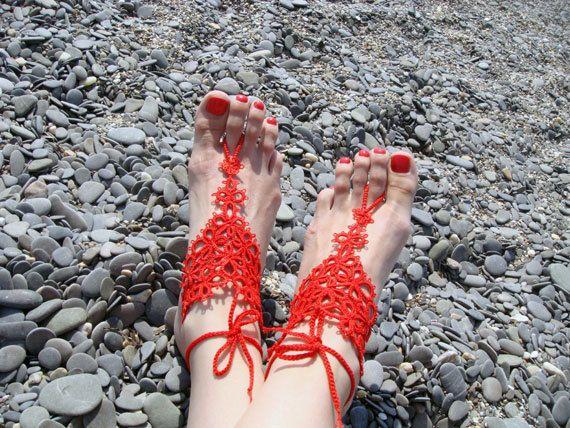 Red barefoot sandals tatting.