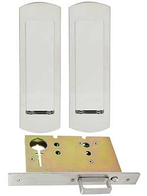 Premium Passage Pocket Door Mortise Lock Set With Rounded Pulls