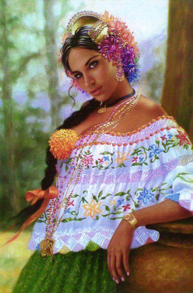 El Traje Tipico De Panama Quot La Pollera Quot Hispanic Art
