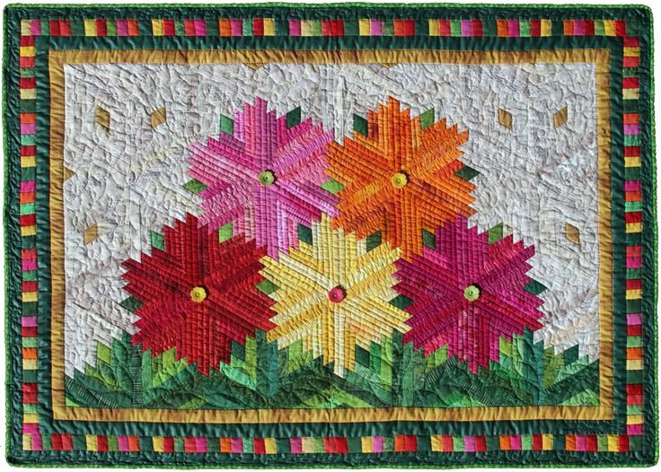 Zinnias By Flavin Glover Nice Layout For Diamond Log Cabins Quilt ... : log cabin quilt block layouts - Adamdwight.com