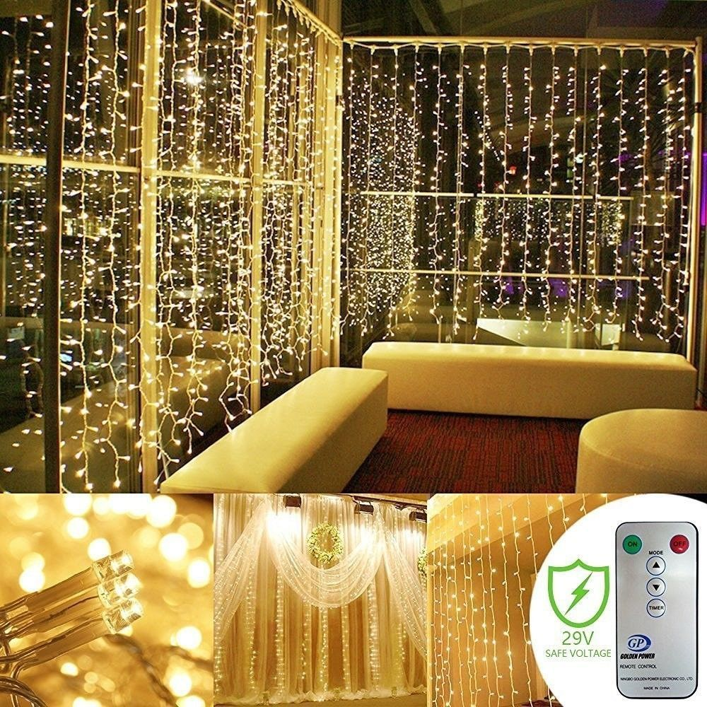 300 Led Curtain icicle lights Remote Curtain Lights for Christmas ...