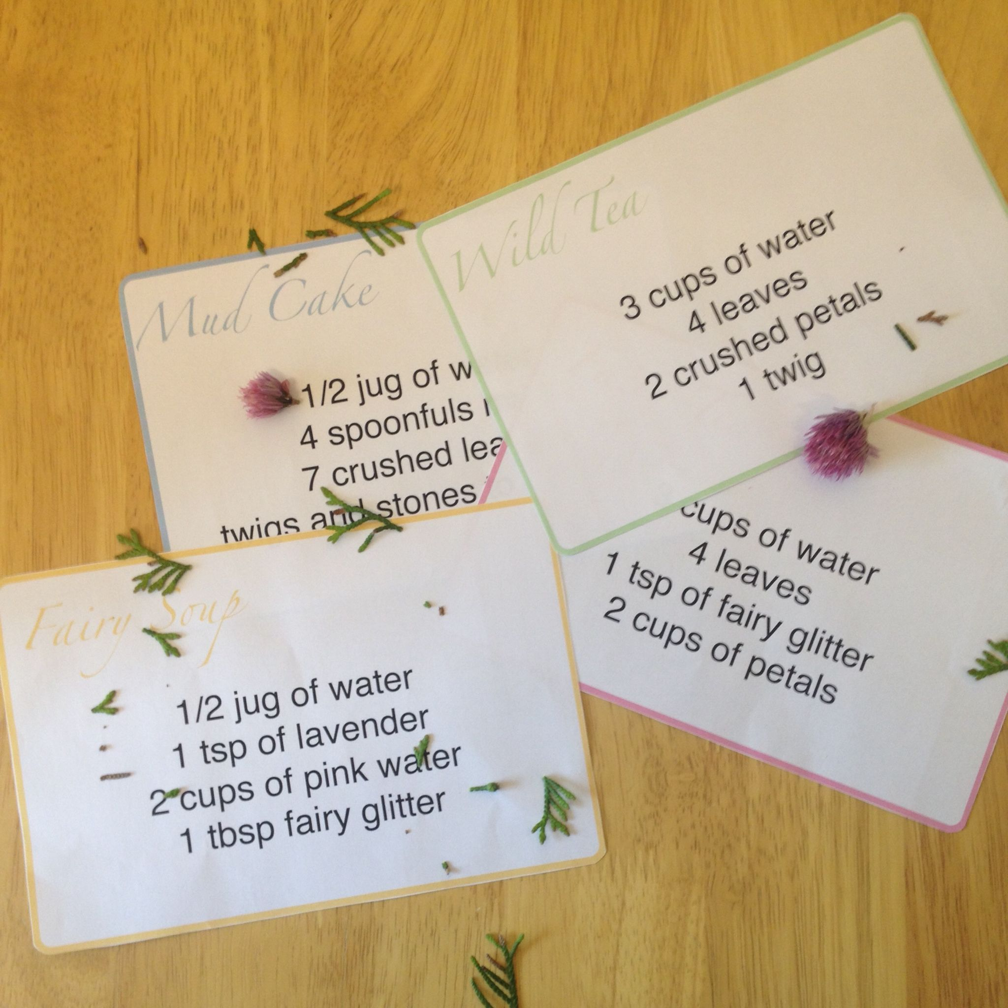 Little Miss EYFS 5 tipscreating mud kitchen recipe cards