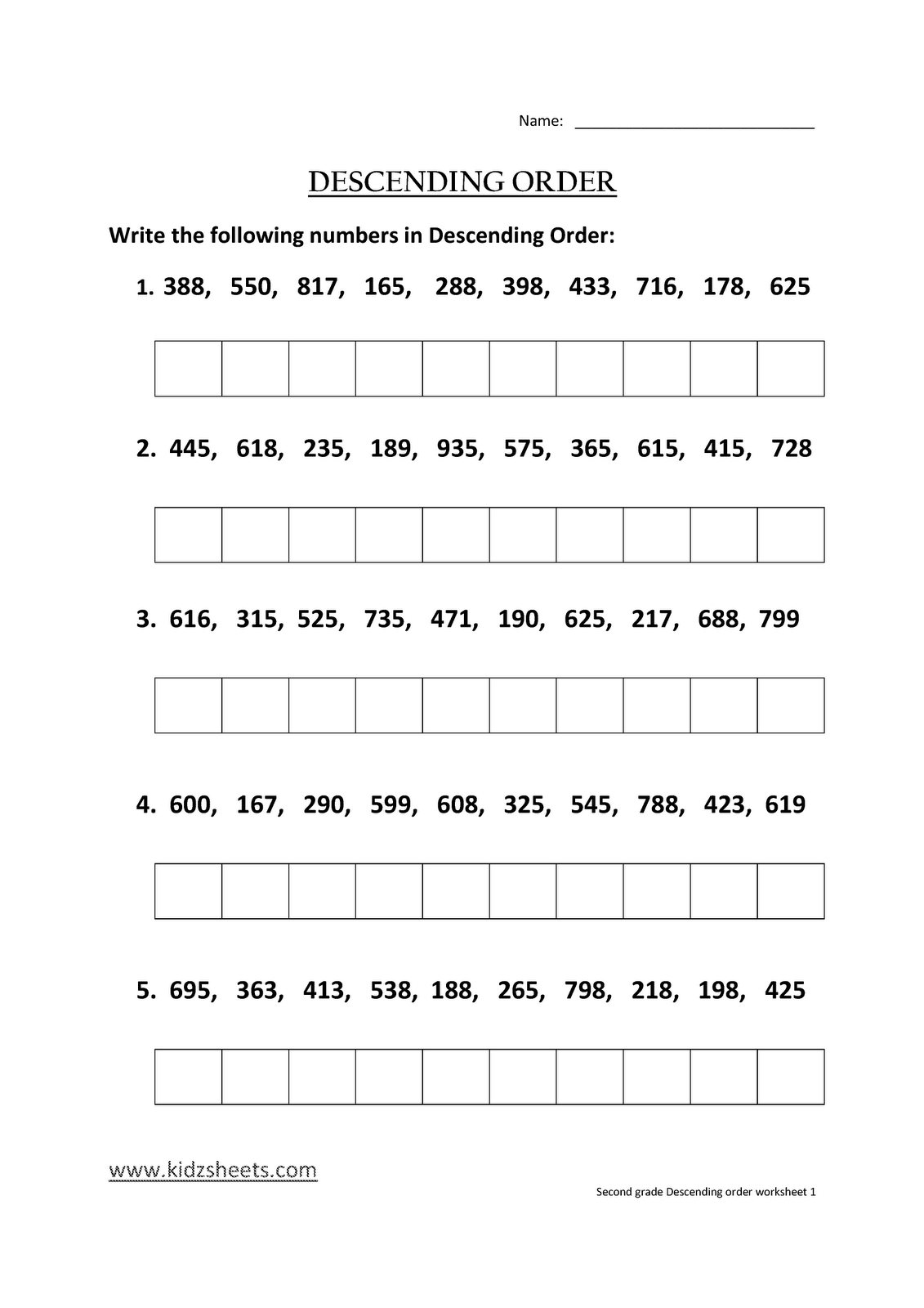 Ascending And Descending Order Worksheets For Kids