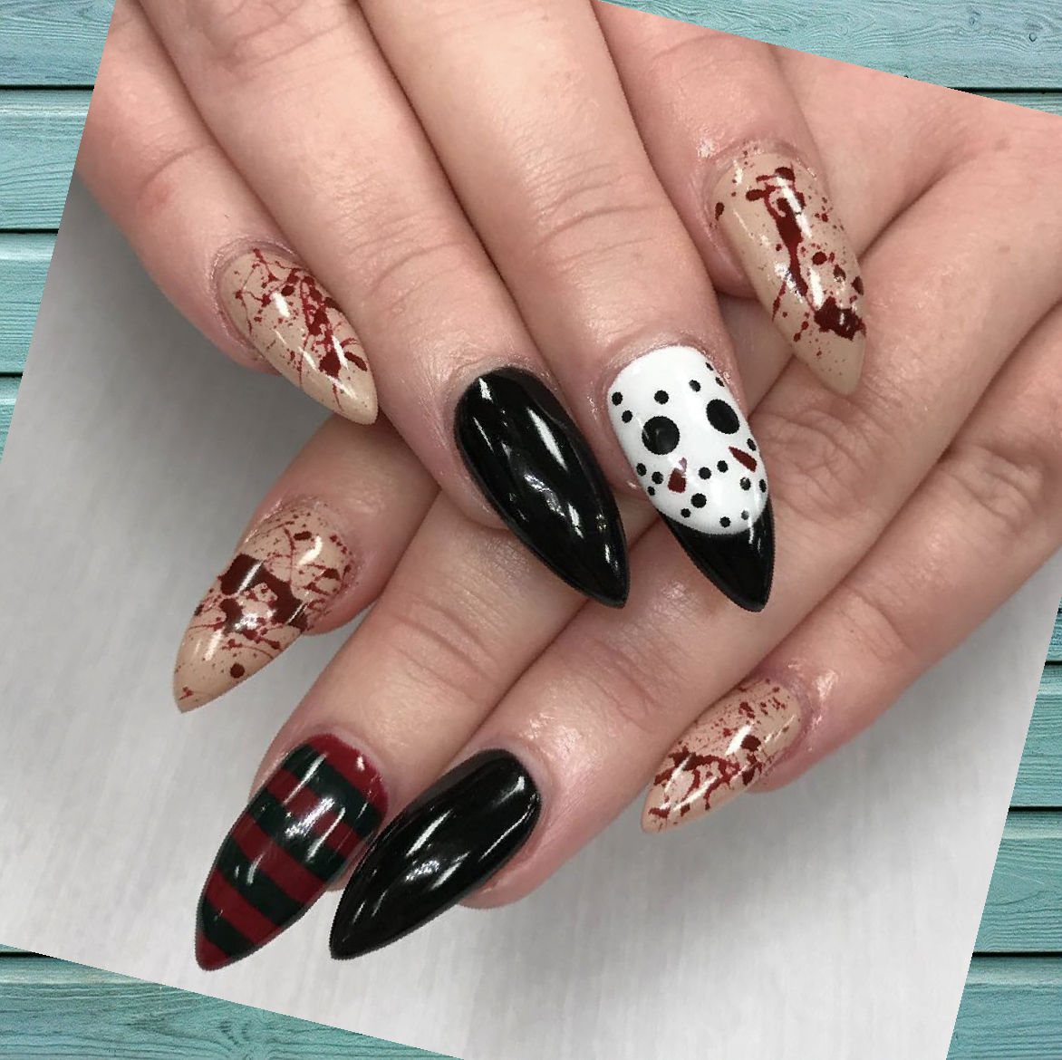 47 Halloween Nail Designs Halloween Nail Designs Coffin Halloween Nail Designs Cute 2020 In 2020 Cute Halloween Nails Horror Nails Holloween Nails