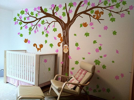 Super cute...boy or girl!  Vinyl Tree Wall Decal Tree Wall Sticker Art by WallDecalDepot, $135.00
