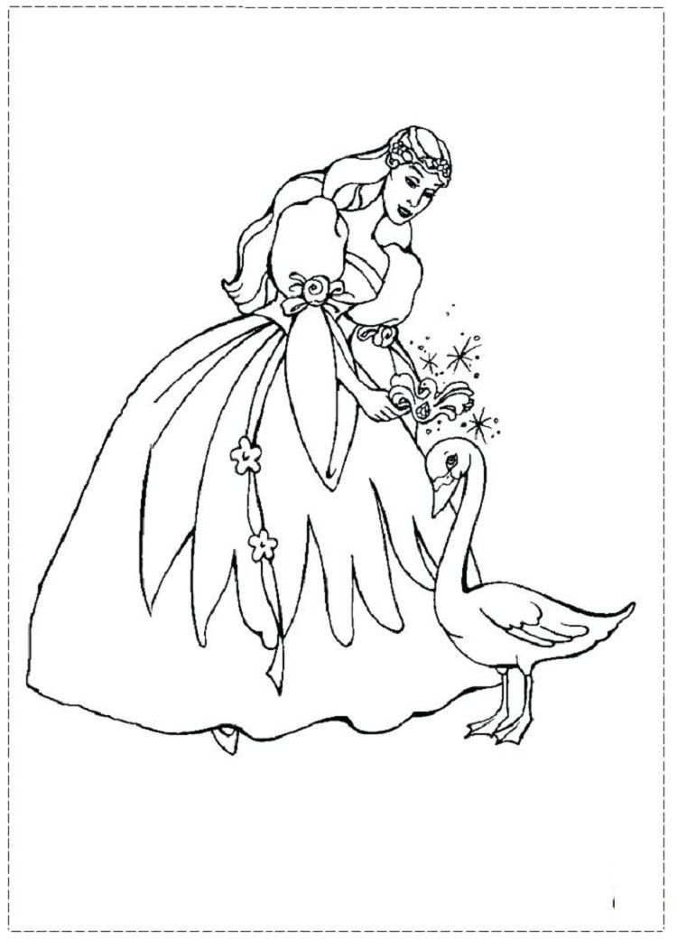 Barbie Coloring Pages Swan Princess Coloringpagesfree