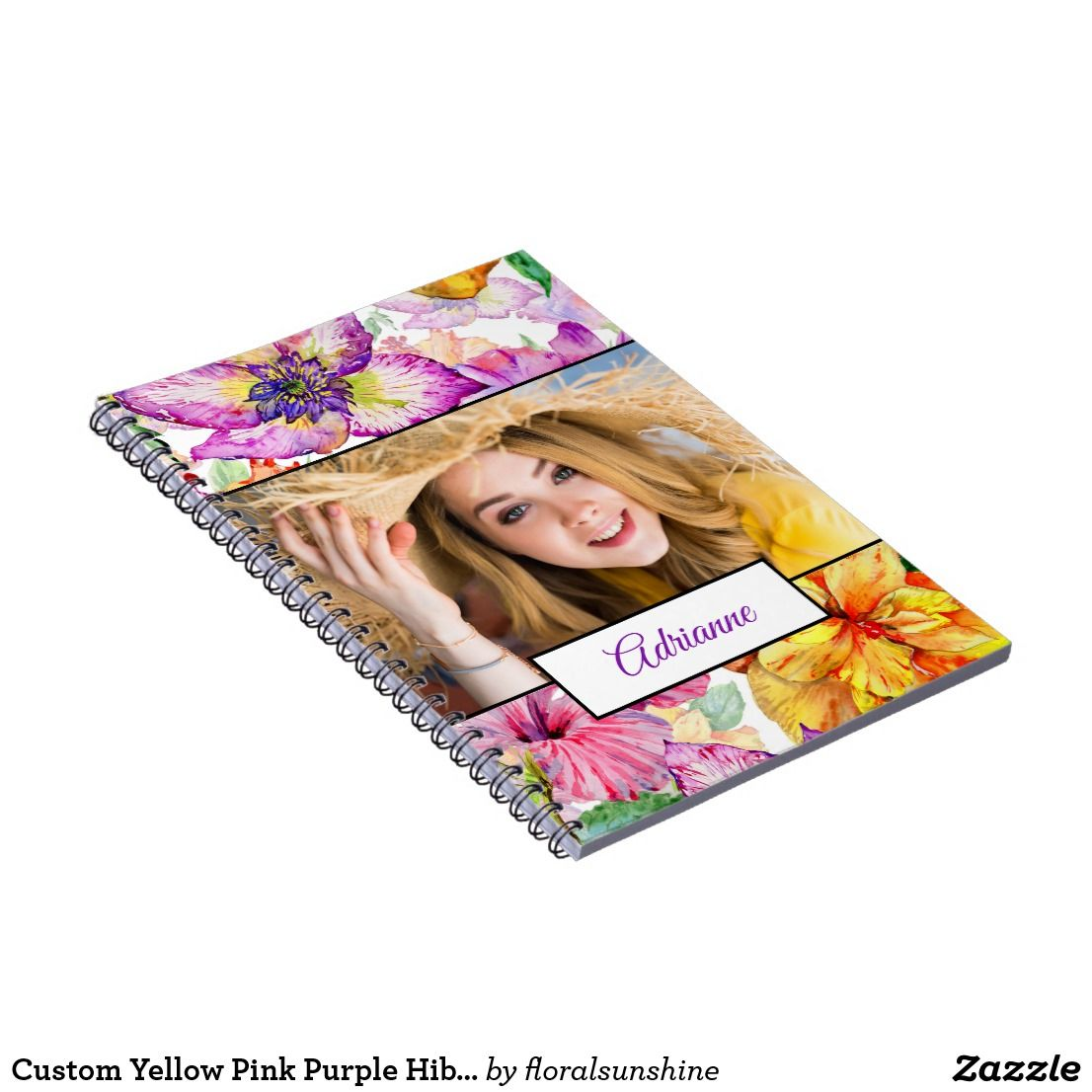 Custom Yellow Pink Purple Hibiscus Floral Photo Notebook Colorful
