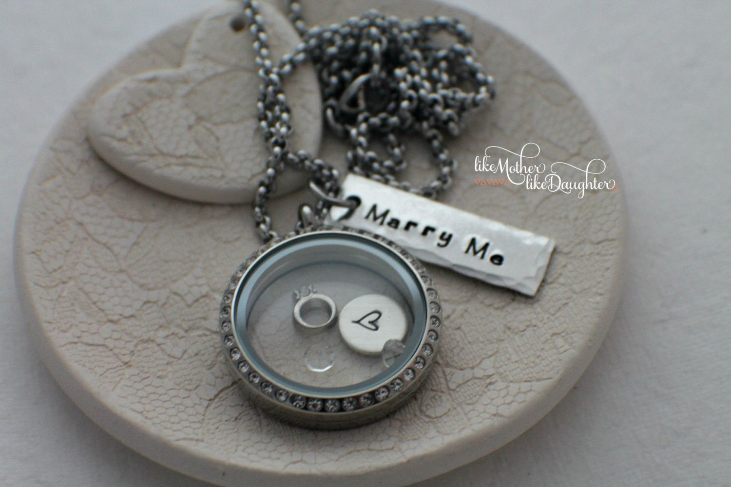 Personalized marry me jewelry hand stamped marry me locket memory