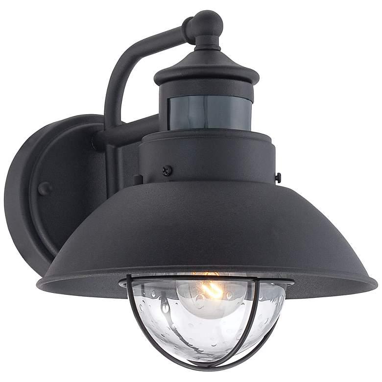Oberlin 9 H Black Dusk To Dawn Motion Sensor Outdoor Light 5y111 Lamps Plus In 2021 Motion Sensor Lights Outdoor Led Outdoor Wall Lights Black Outdoor Wall Lights