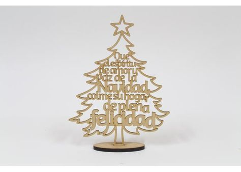 3mm MDF Merry Christmas on Stand with Holly