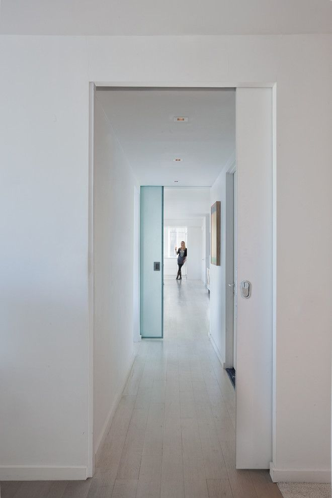 Frosted Glass Pocket Door Hall Modern Interesting Ideas With Light