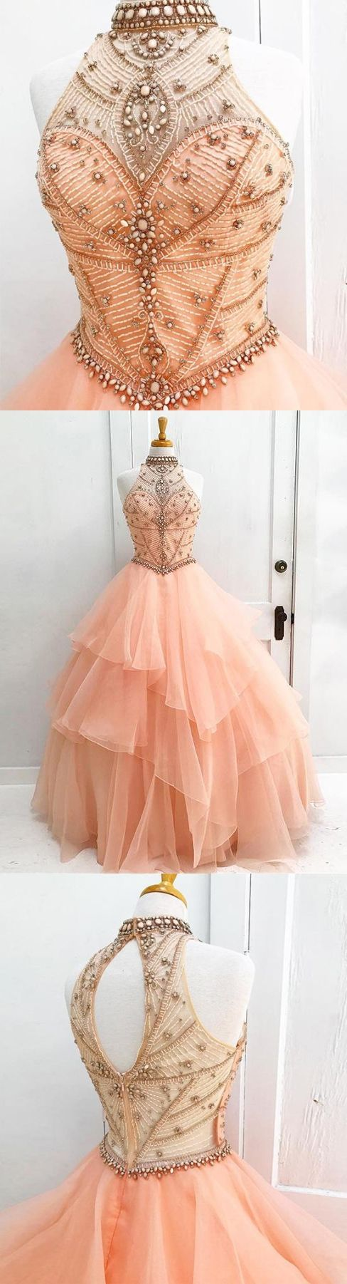 Ball gown prom dresses rhinestone beading floorlength sexy prom