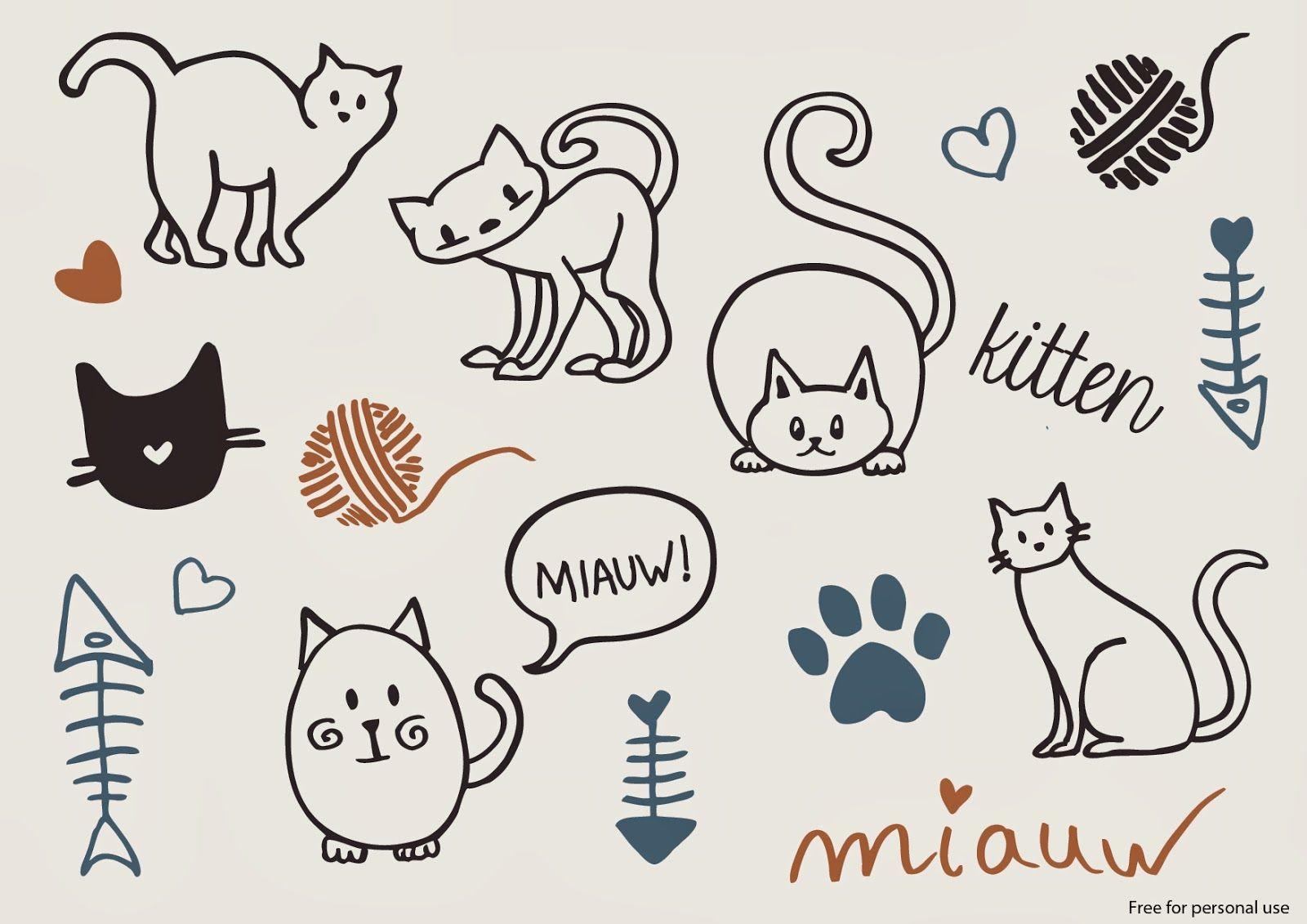 Free Cat Vectors Cat Doodle Cat Vector Free Cats
