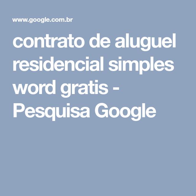Contrato De Aluguel Residencial Simples Word Gratis Pesquisa