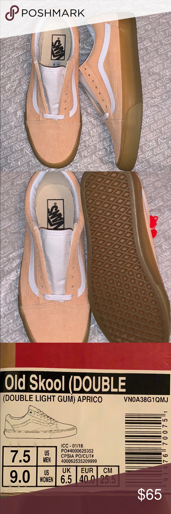 789dc62944c688 Old skool Vans Old school Vans double light gum apricot All suede vans with  leather side stripe Extra light gum sole so cute! Men s size 7.5 or women s  size ...