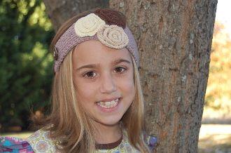 Brown Ear Warmer/Headband w/Flowers
