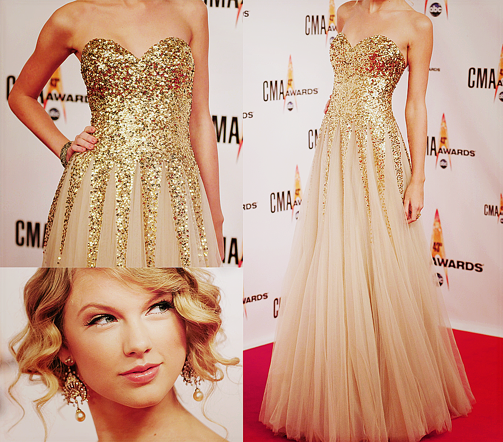 Gold glitter dress and t swift fashion fades only style remains