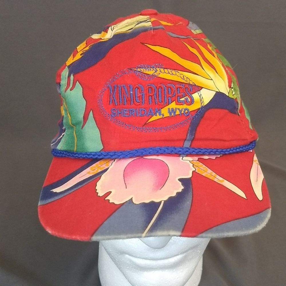 Vintage KING ROPES Sheridan Wyoming Hat Cap Multi-Color Strapback