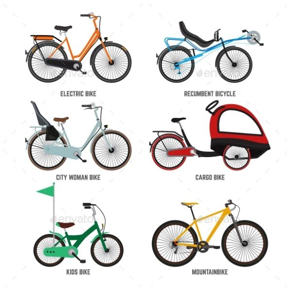 Different Type Of Bicycles For Male Female Bicycling Font Logo